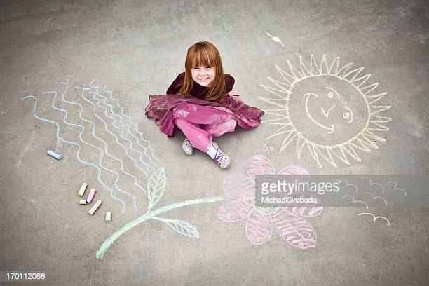 Little Girl Drawing on Sidewalk