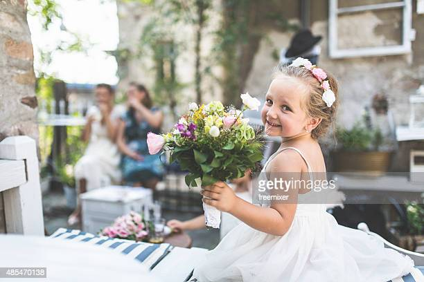 Little girl dressed as a bride