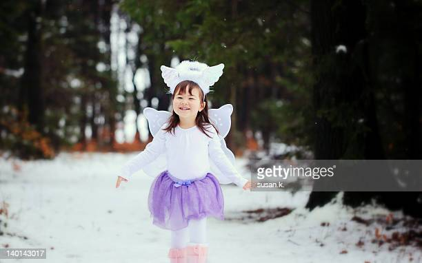 Little girl dressed up as spring fairy