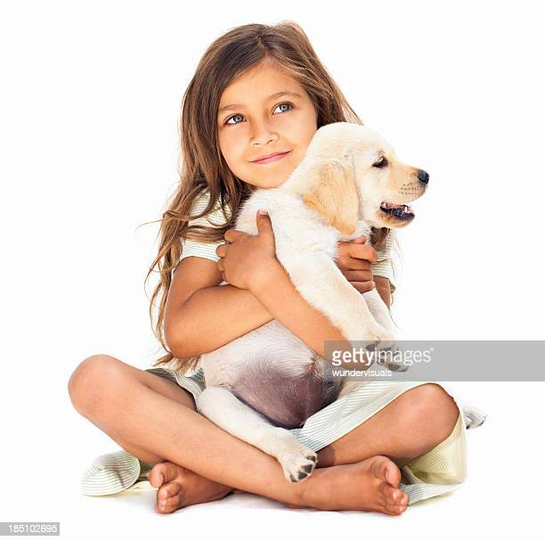 Little Girl Embracing Her Pet