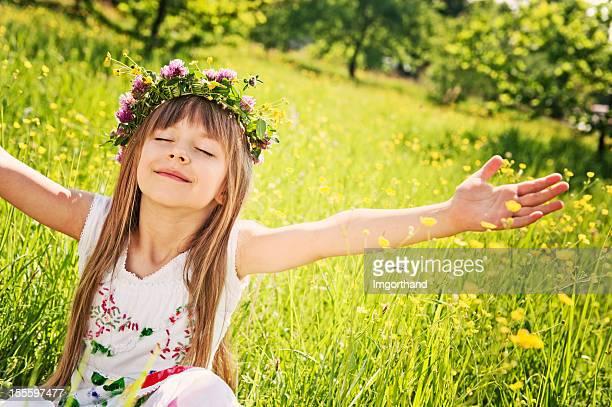 Little girl enjoying spring