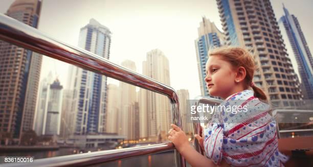 Little girl exploring Dubai marina