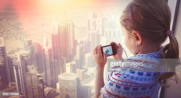 Little girl exploring Dubai