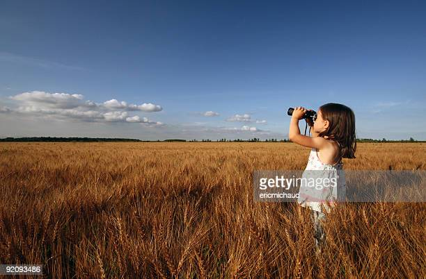 Little girl exploring through a wheat field