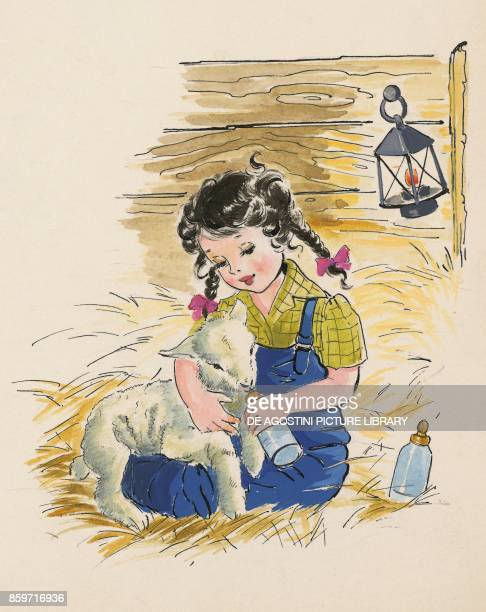 Little girl feeding a lamb with baby bottle children's illustration drawing