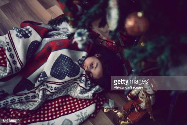 Little Girl Fell Asleep Under Christmas Tree Wile Witing for Santa