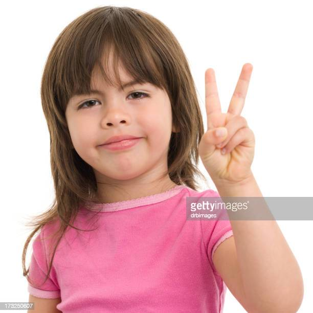 Little Girl Gives Peace Sign