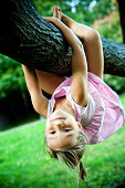 Little girl hanging on a tree branch