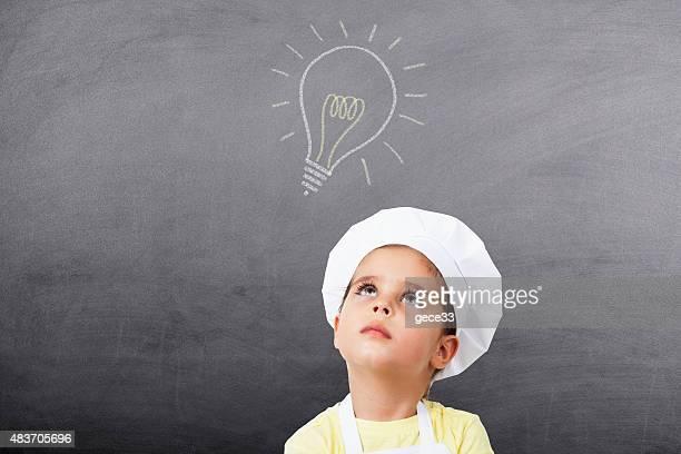 Little Girl have a good idea on Chalkboard