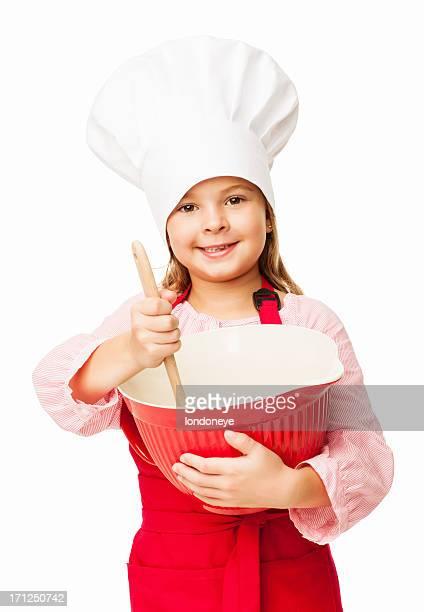 Kleines Mädchen hält eine Schüssel und Schneebesen-isoliert