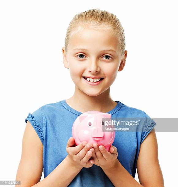 Little Girl Holding a Piggy Bank - Isolated