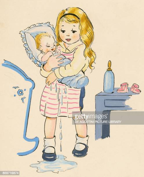 Little girl holding in her arms her little brother in swadding clothes who just peed on himself children's illustration drawing