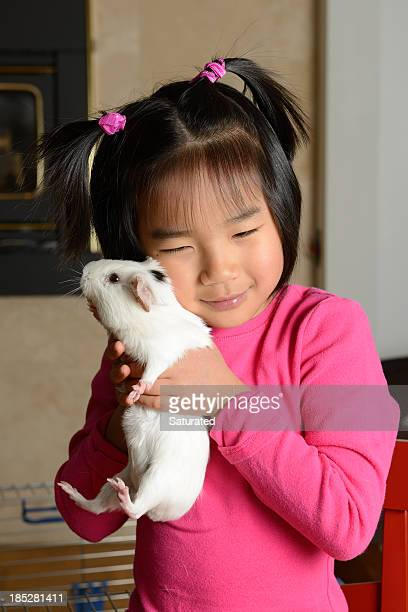 Little Girl Hugging Pet Guinea Pig