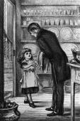 A little girl in a pinafore shakes hands with a butler in the butler's pantry Every Girl's Annual pub 1878