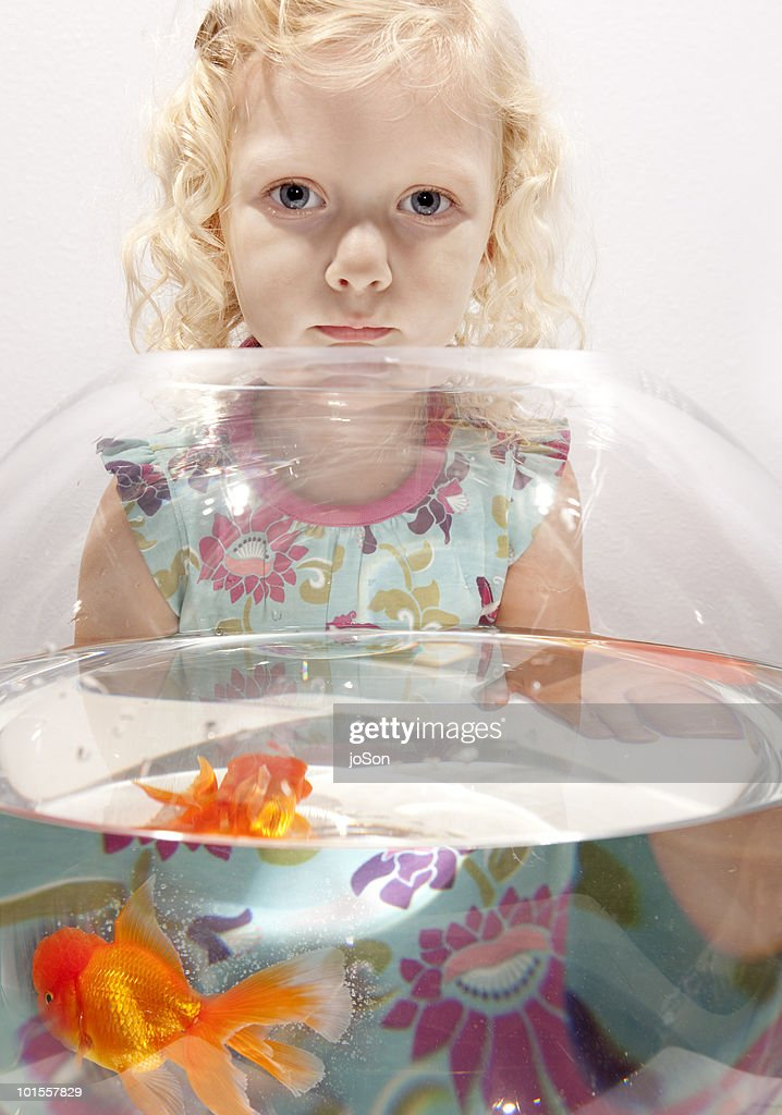 Little girl in front of goldfish bowl. close-up : Stock Photo