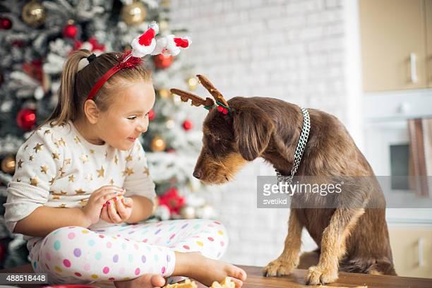 Menina na cozinha de Natal com seu cão.