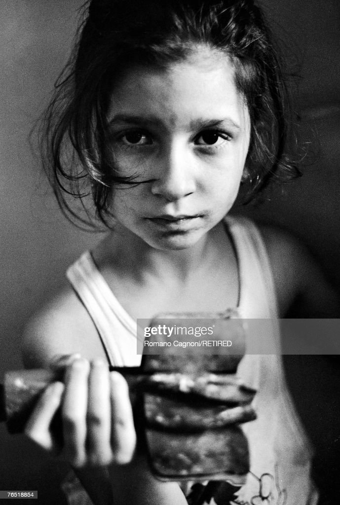 A little girl in Sarajevo during the Bosnian War, 1992.