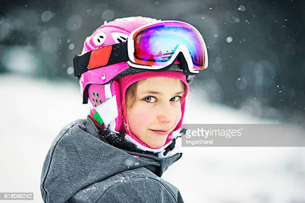 Little girl in ski gear