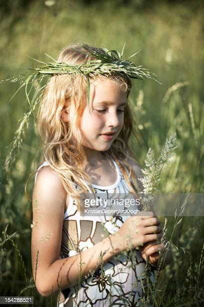 Little Girl in Tall Grass Field