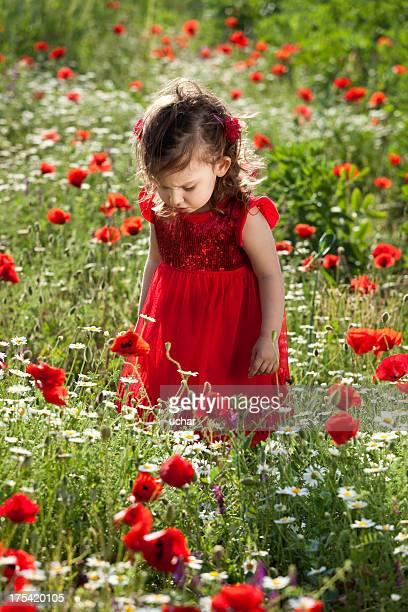 Kleines Mädchen im Garten Blumen