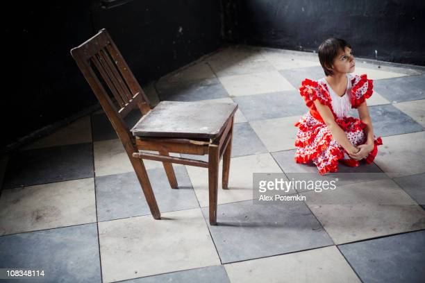 little girl in the old ruined palace