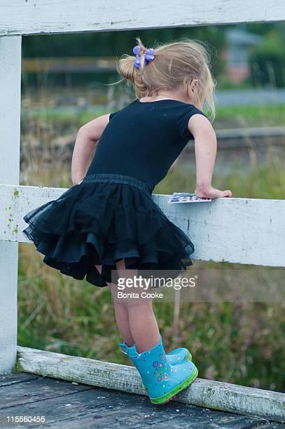 Little girl in tutu on bridge