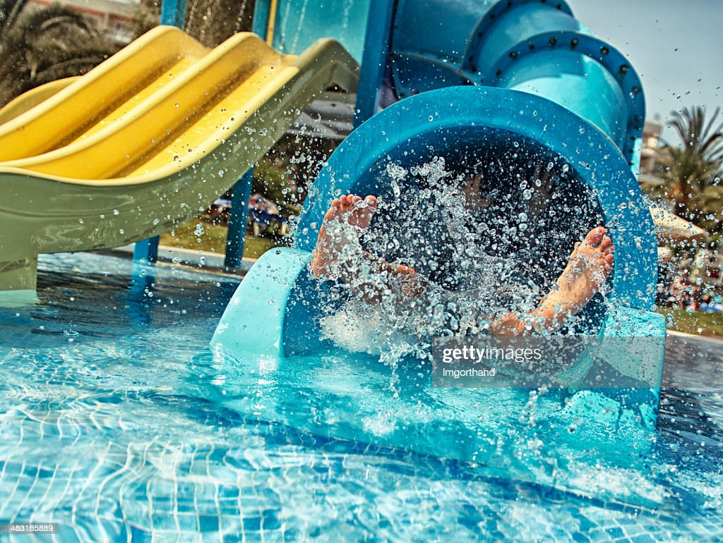 Little girl in water park : Stock Photo