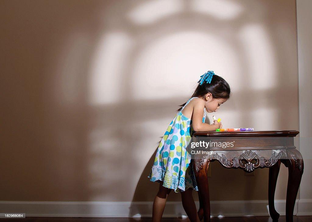 Little Girl in Window Light : Stock Photo