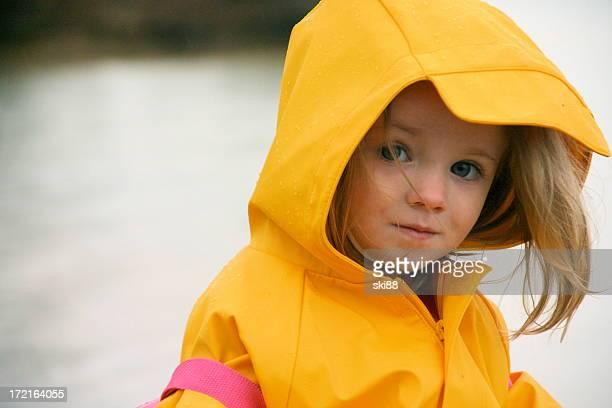 Little Girl in Yellow Rain Jacket