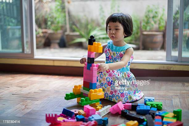 Little girl is playing