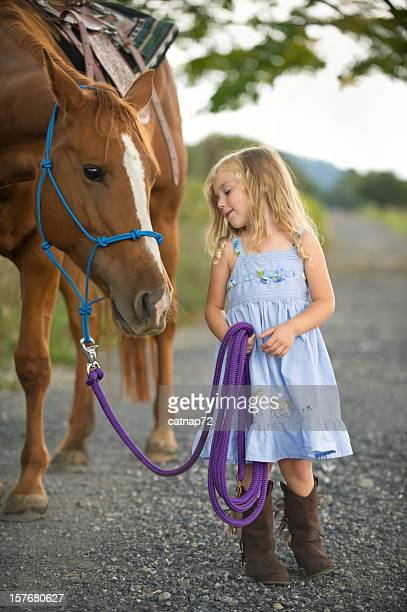 Little Girl Leading Big Horse, Cute Three Year Old
