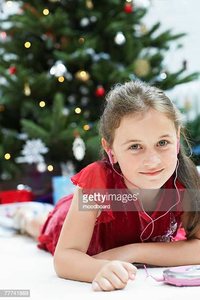 Little Girl Listening to CD Player