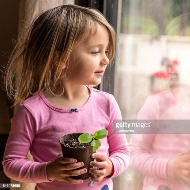 Little girl looking through a window