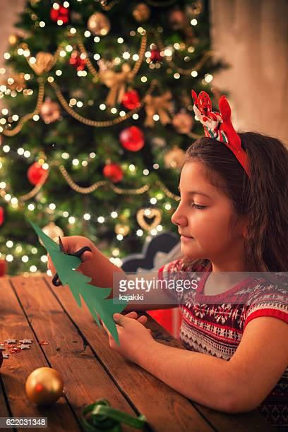 Little Girl Making Christmas Card