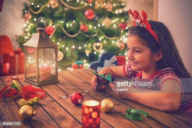Little Girl Making Christmas Card