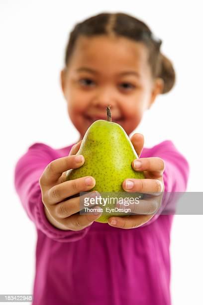 Little Girl Offering Viewer an Pear