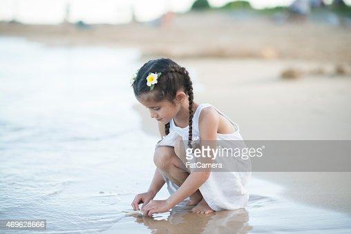 Little girl on a beach.