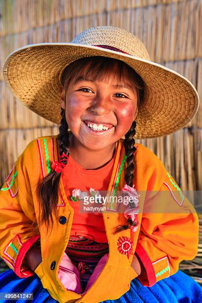 Little girl on Uros floating island, Lake Tititcaca, Peru
