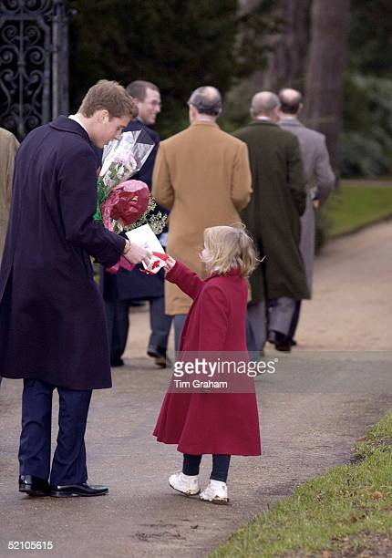 Little Girl Outside Church At Sandringham On Christmas Day Gives Prince William A Christmas Card