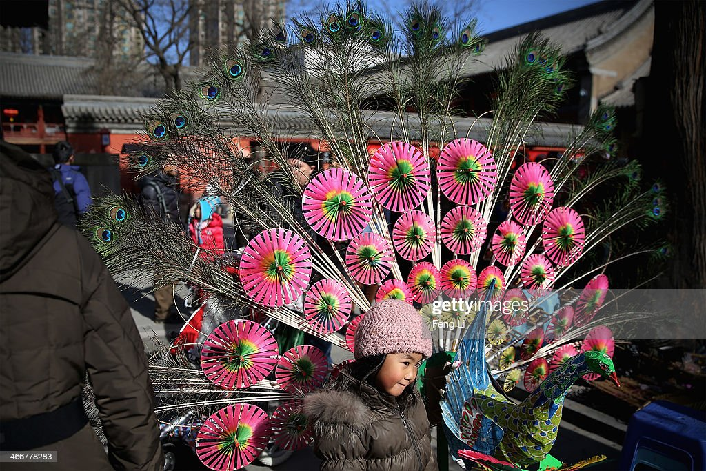 A little girl poses for photo near a peacock made by the wind mill toys during a Spring Festival temple fair on the fifth day of the Chinese Lunar New Year of Horse on February 4, 2014 in Beijing, China. The Chinese Lunar New Year of Horse also known as the Spring Festival, which is based on the Lunisolar Chinese calendar, is celebrated from the first day of the first month of the lunar year and ends with Lantern Festival on the Fifteenth day.