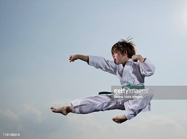 Little girl practicing karate