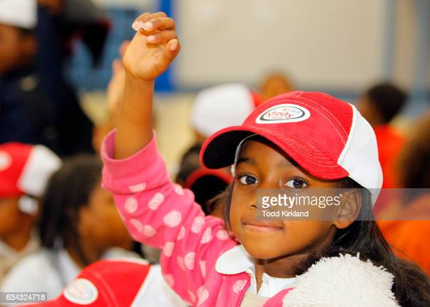 A little girl raises her hand to ask Daniel Saurez a question during his visit to the Anderson Boys and Girls Club on February 8 2017 in Marietta...