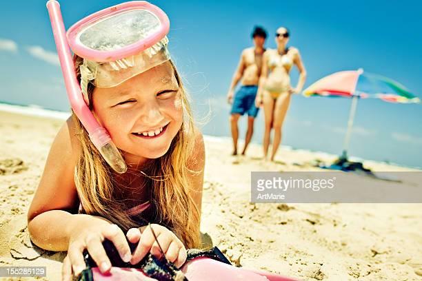 Little girl ready for snorkeling