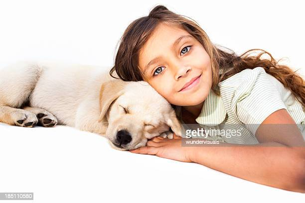 Little Girl Relaxing With Her Pet