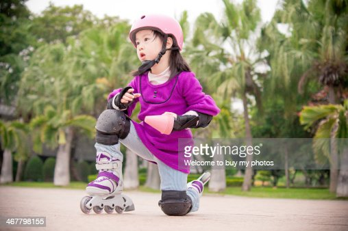Little girl rollerskating