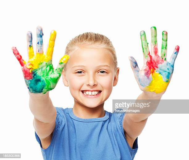 Little Girl Showing the Paint on Her Hands - Isolated