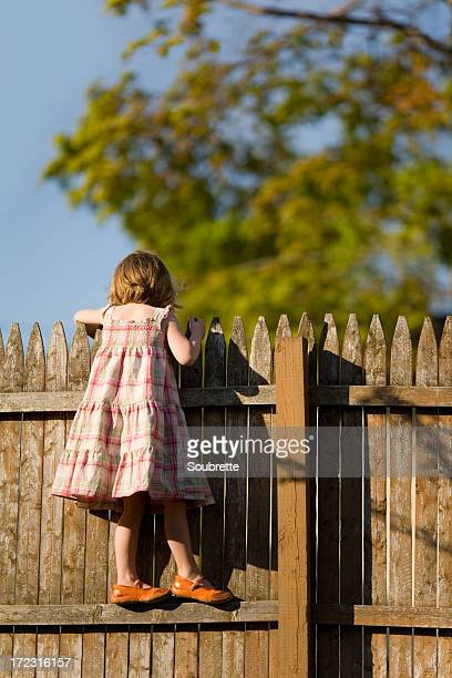 Little girl standing on fence looking over