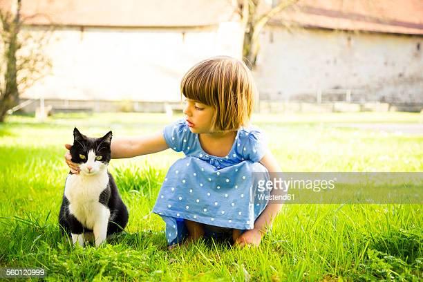 Little girl stroking cat on a meadow