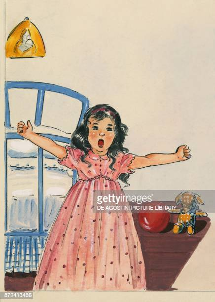 A little girl waking up and getting out of her bed children's illustration drawing