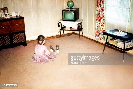 Little Girl Watching First Television, Retro Vintage Style